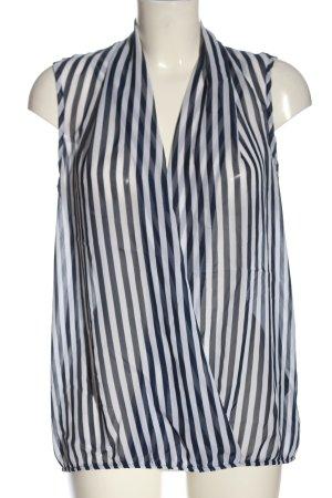 Amisu Blusa-camisa azul-blanco estampado a rayas estilo «business»