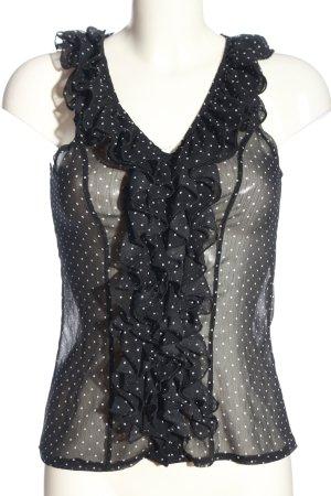 Amisu Hemd-Bluse schwarz-weiß Punktemuster Elegant
