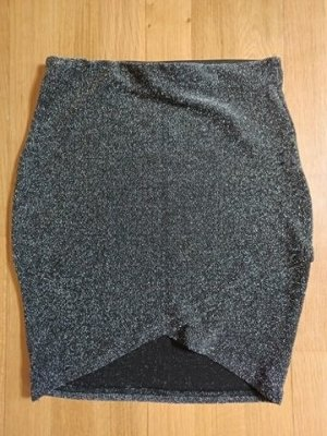 Amisu High-waist Business-/Abendrock [Schwarz-Silber, Gr. XS]