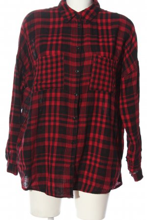 Amisu Holzfällerhemd rot-schwarz Allover-Druck Casual-Look
