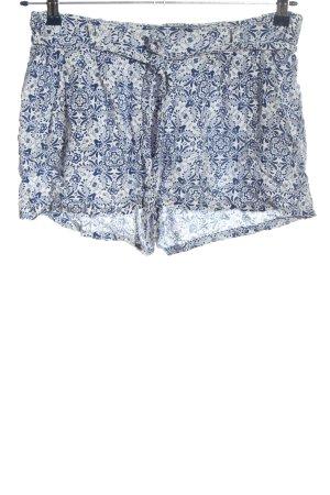 Amisu Hot Pants weiß-blau abstraktes Muster Casual-Look
