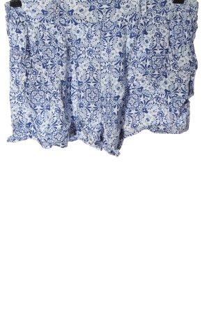 Amisu Krótkie szorty biały-niebieski Łączone wzory W stylu casual