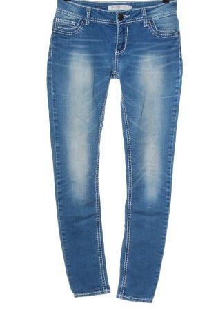 Amisu Hüftjeans blau-weiß Casual-Look