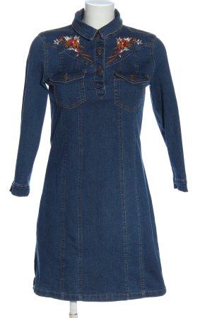 Amisu Denim Dress blue flower pattern casual look