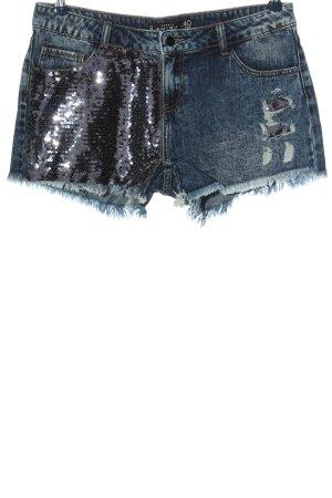 Amisu Pantaloncino di jeans blu-argento elegante