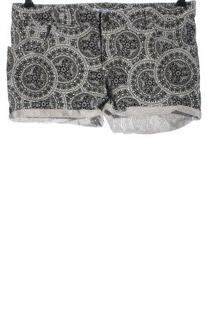 Amisu Jeansshorts schwarz-weiß abstraktes Muster Casual-Look