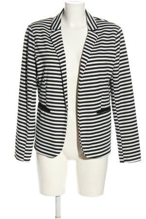 Amisu Jerseyblazer schwarz-weiß Streifenmuster Casual-Look