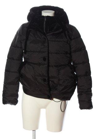 Amisu Veste à capuche noir motif de courtepointe style décontracté