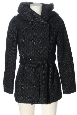 Amisu Cappotto con cappuccio nero-grigio chiaro puntinato elegante