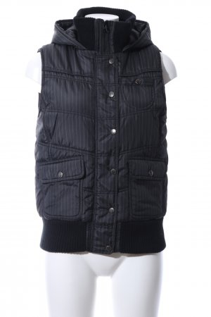 Amisu Hooded Vest black-white striped pattern casual look