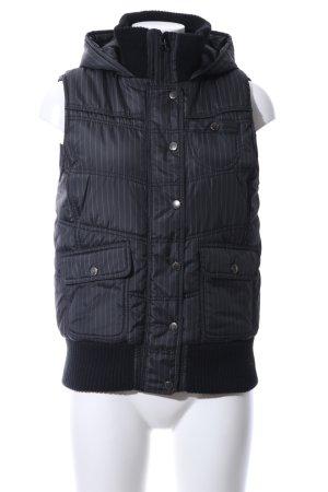 Amisu Chaleco con capucha negro-blanco estampado a rayas look casual