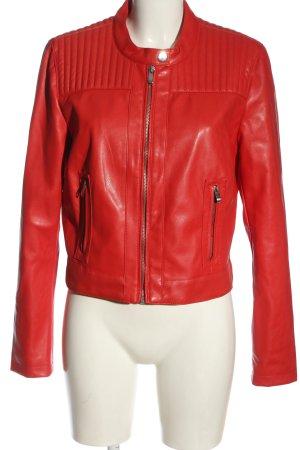 Amisu Veste en cuir synthétique rouge style décontracté