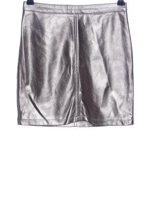 Amisu Jupe en cuir synthétique argenté style décontracté