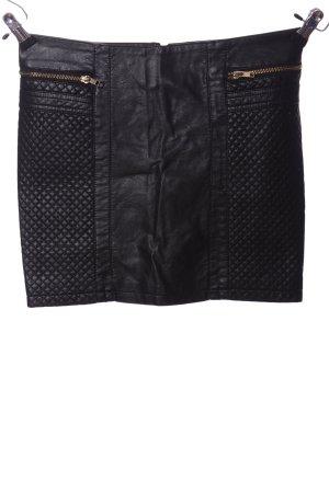 Amisu Jupe en cuir synthétique noir motif de courtepointe style décontracté