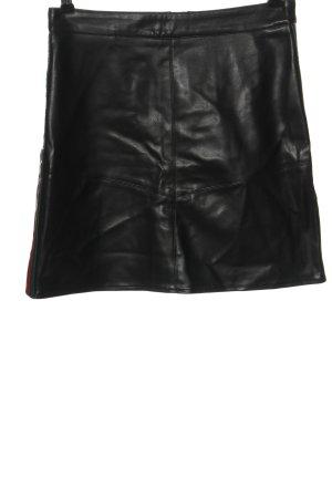 Amisu Spódnica z imitacji skóry czarny Wzór w paski W stylu casual