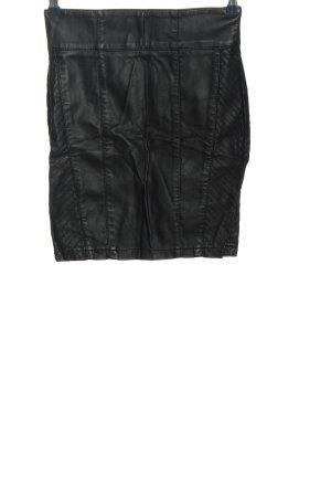 Amisu Jupe en cuir synthétique noir style décontracté