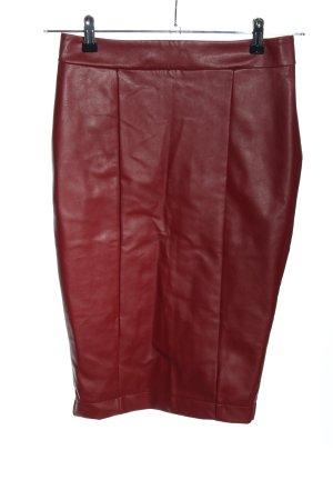 Amisu Faux Leather Skirt red elegant