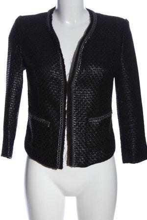 Amisu Korte blazer zwart-zilver volledige print zakelijke stijl