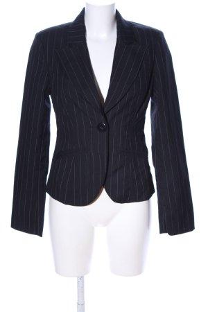 Amisu Korte blazer zwart-lichtgrijs gestreept patroon zakelijke stijl