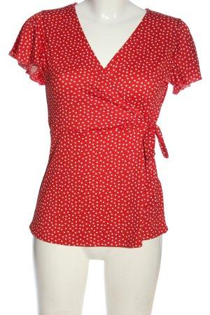 Amisu Kurzarm-Bluse rot-weiß Allover-Druck Casual-Look