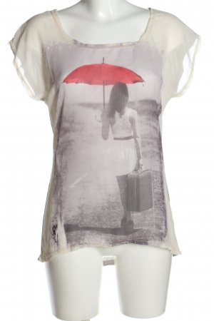 Amisu Kurzarm-Bluse Motivdruck Casual-Look