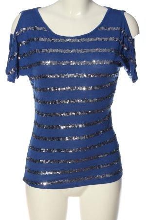 Amisu Kurzarm-Bluse blau Streifenmuster Casual-Look