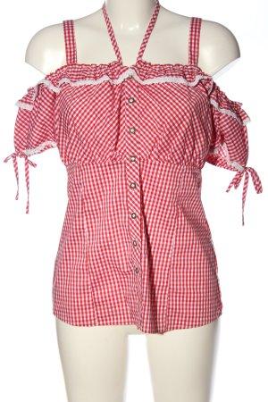 Amisu Kurzarm-Bluse rot-weiß Karomuster Casual-Look