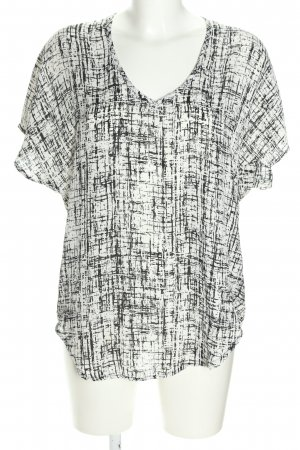 Amisu Kurzarm-Bluse weiß-schwarz Allover-Druck Casual-Look