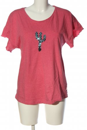 Amisu Kurzarm-Bluse pink meliert Casual-Look