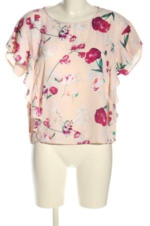 Amisu Kurzarm-Bluse creme-pink Allover-Druck Elegant