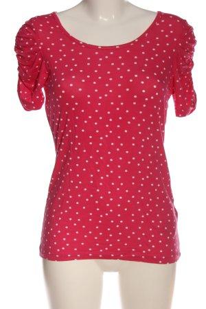 Amisu Kurzarm-Bluse rot-weiß Punktemuster Casual-Look