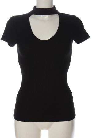 Amisu Kurzarm-Bluse schwarz Casual-Look