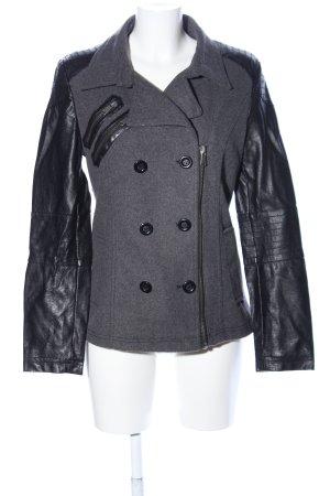 Amisu Manteau court gris clair-noir moucheté style décontracté
