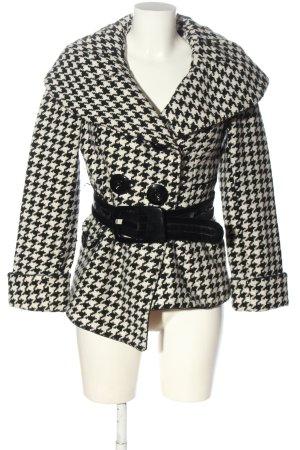 Amisu Kurzmantel schwarz-weiß abstraktes Muster Elegant