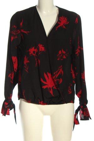Amisu Blusa de manga larga negro-rojo look casual