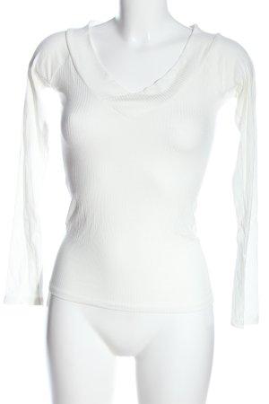 Amisu Langarm-Bluse weiß Streifenmuster Casual-Look