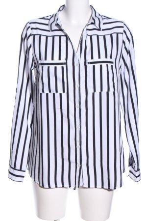 Amisu Langarm-Bluse weiß-schwarz Allover-Druck Business-Look