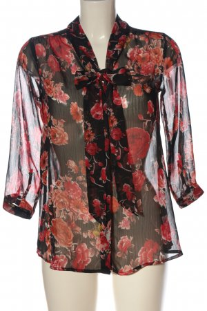 Amisu Langarm-Bluse schwarz-rot Allover-Druck Casual-Look