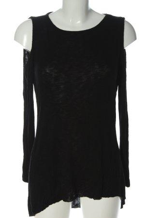 Amisu Blusa de manga larga negro moteado look casual