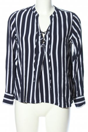 Amisu Langarm-Bluse blau-weiß Streifenmuster Casual-Look