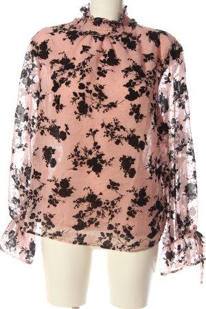 Amisu Langarm-Bluse pink-schwarz Blumenmuster Casual-Look