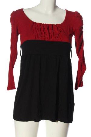 Amisu Langarm-Bluse schwarz-rot Elegant