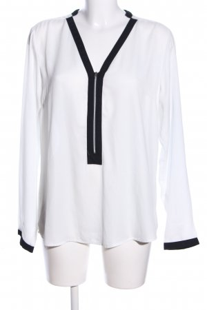 Amisu Langarm-Bluse weiß-schwarz Casual-Look