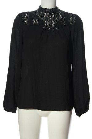 Amisu Langarm-Bluse schwarz Elegant