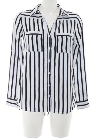 Amisu Langarm-Bluse weiß-schwarz Streifenmuster Business-Look