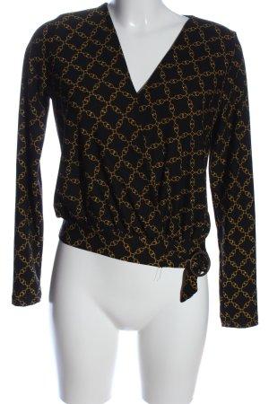 Amisu Langarm-Bluse schwarz-blassgelb grafisches Muster Casual-Look