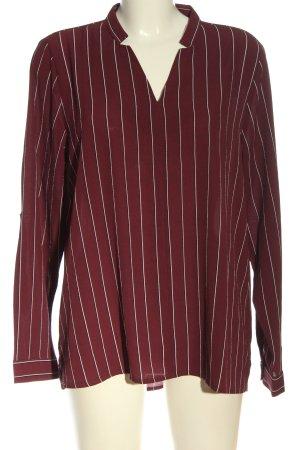 Amisu Langarm-Bluse rot-weiß Allover-Druck Casual-Look
