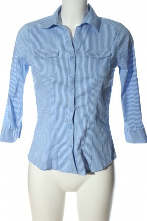 Amisu Langarmhemd blau-weiß Allover-Druck Business-Look