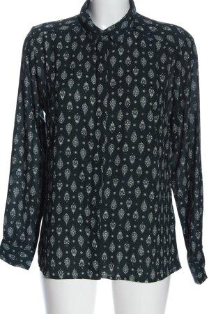Amisu Langarmhemd schwarz-weiß Allover-Druck Casual-Look