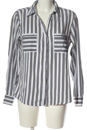 Amisu Langarmhemd weiß-schwarz Streifenmuster Business-Look